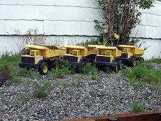 Tonka Trucks in the backyard. Tonka Trucks, Tonka Toys, Big Girl Toys, Toys For Girls, Tractors, Cart, Guy, Horse, Backyard