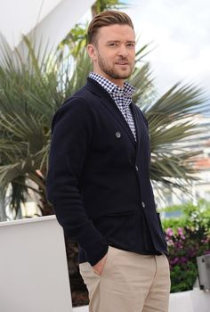 Justin Timberlake.  Cannes...navy double breasted cardigan, checkered navy and white shirt and khaki pants.
