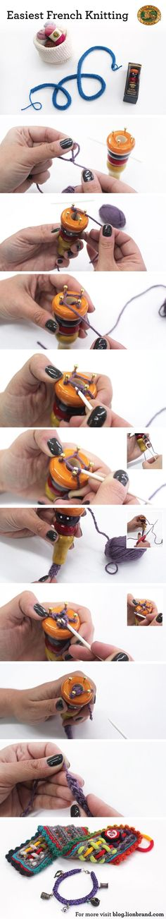 An EASY PHOTO' TUTORIAL on FRENCH KNITTING❗  A Delightful CHARM BRACELET is one of the examples of WHAT U CAN MAKE❗Only yr OWN IMAGINATION can limit U❗