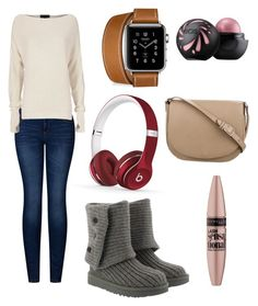 """""""Mall In the winter"""" by meganmoo0406 ❤ liked on Polyvore featuring UGG, Beats by Dr. Dre, 2LUV, Exclusive for Intermix, Maybelline and CÉLINE"""