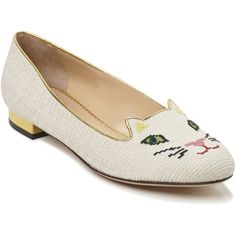 Charlotte Olympia Off White Kitty Flat (4.605 VEF) ❤ liked on Polyvore featuring shoes, flats, charlotte olympia flats, cat flat shoes, champagne shoes, cat shoes and pointy flats
