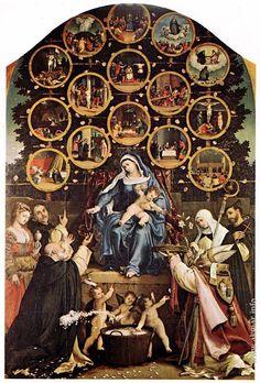 Лоренцо Лотто. Мадонна с четками. 1539. Церковь Сан Николо, Синьоли. Италия.