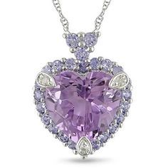 White Gold Diamond Amethyst and Tanzanite Heart Pendant Necklace. Purple Jewelry, Diamond Jewelry, Diamond Necklaces, Jewelery, Jewelry Necklaces, Bracelets, Cute Jewelry, Jewelry Accessories, Heart Jewelry