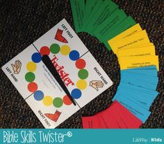 Bible Skills Twister - make up color cards with trivia questions on them. Players have to correctly answer before they can do the action.