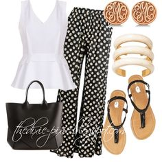 Summer outfits. Fashion over 40. Charleston. Print pant. by dixiepixie on Polyvore featuring Prabal Gurung, Givenchy, Aurélie Bidermann and Allurez