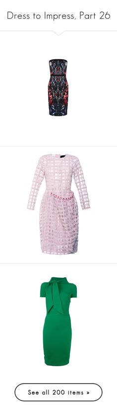 """""""Dress to Impress, Part 26"""" by happilyjynxed ❤ liked on Polyvore featuring dresses, simone rocha, pink, long sleeve wool dress, full skirts, pink sheer dress, pink dress, zip back dress, vestido and yellow"""