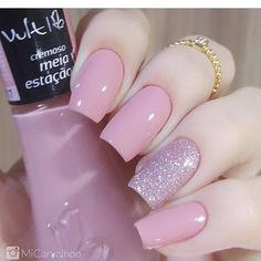 Unhas Artísticas, Unhas Decoradas, Unhas Com Pedras E Adesivos De Unhas Perfect Nails, Gorgeous Nails, Love Nails, How To Do Nails, My Nails, Cute Pink Nails, French Gel, Nails Polish, Cute Acrylic Nails
