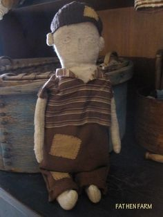 Fat Hen Farm - Primitive Rag Doll - Early Brown Linsey Woolsey - Boy! #NaivePrimitive