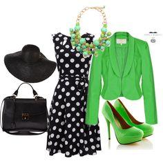 How to wear a polka dots dress? by lorenza-bompani on Polyvore#elegant dress