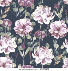 Seamless hand illustrated floral patter with peony. Watercolor botanical background
