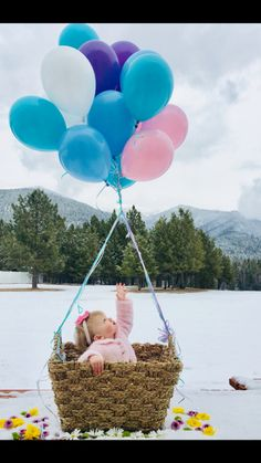 Lily Bea  Baby winter balloons Twin Pictures, Baby Winter, Happy Thoughts, Bassinet, Balloons, Lily, Crib, Globes, Balloon