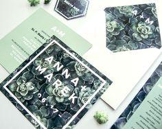 succulent wedding greenery stationary invitation modern geometric botanical