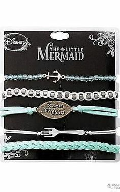 new THE LITTLE MERMAID Disney ARIEL Kiss The Girl 5 pack punk BRACELETS movie