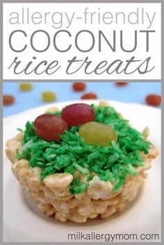 Coconut rice crispy treats made in a muffin tin and topped with natural jelly beans. What could be better for spring? Food allergy kids will love these.