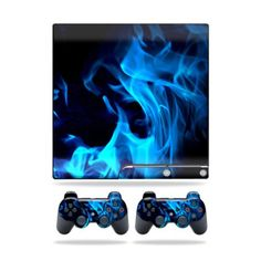 Mightyskins Protective Vinyl Skin Decal Cover for Sony Playstation 3 PS3 Slim skins  2 Controller skins Sticker Blue Flames * Want additional info? Click on the image.