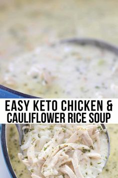 Healthy Low Carb Dinners, Low Carb Soup Recipes, Cauliflower Soup Recipes, Keto Cauliflower, Low Carb Keto, Simple Low Carb Meals, Keto Recipes, Healthy Recipes, Low Carb Chicken Soup