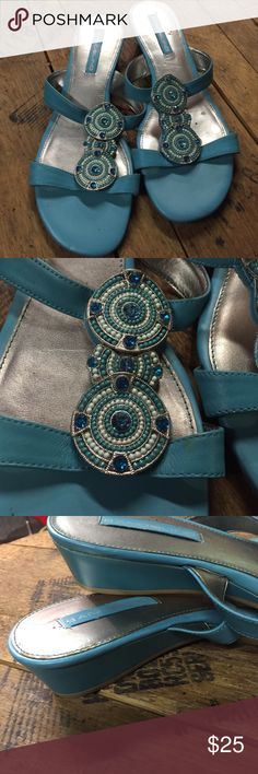 """Turquoise sandal with beaded details Turquoise sandal with 1 1/2"""" wedge. Bandolino Shoes"""