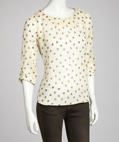 Take a look at this Ivory Sheer Three-Quarter Sleeve Top - Women by Ash & Sara on #zulily today!