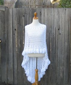 WHITE CROCHET PONCHO Feminine Capelet Chic Fall by marianavail, $100.00