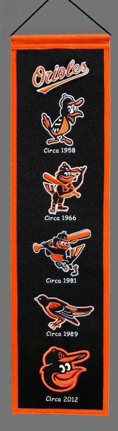 "Baltimore Orioles Wool 8""x32"" Heritage Banner"