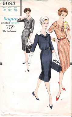 Vintage 1950's Vogue 9683 Wiggle Dress with Short Sleeves Sewing Pattern, offered on Etsy by GrandmaMadeWithLove