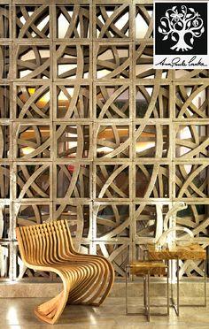 "cobogo ""Raízes"" Partition Design, Facade Design, Wall Design, Pattern Concrete, Concrete Blocks, Breeze Block Wall, Patterned Furniture, Brick Interior, Screen House"