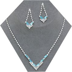 Aqua diamante necklace set available in other colours from WWW.GlitzyGlamour.co.uk