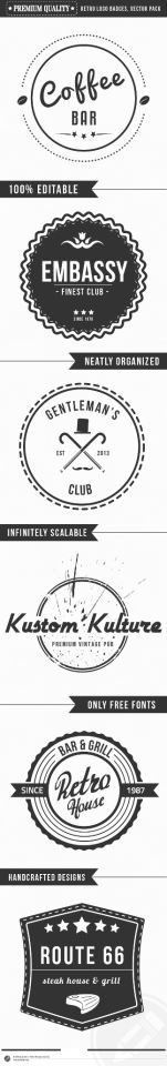 Set of 6 Vintage Logo Badges   A premium quality set of six retro monochromatic badges that can be used as logos, stamps, for retro posters or print. Each design is fully layered,neatly organized, fully scalable and easy to colorize.   http://graphicriver.net/item/premium-quality-retro-logo-badges/4311708?WT.ac=portfolio_1=portfolio_author=SAOStudio