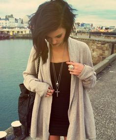 tight black with oversized cardigan
