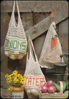 No.231 Crochet Pattern Vintage PDF - Mesh Produce Bags - Potatoes, Onions & Carrots - Retro Crochet Pattern - Food Theme - Instant Download on Etsy, $3.50