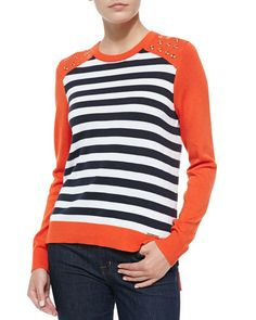 MICHAEL Michael Kors Long-Sleeve Striped Colorblock Sweater