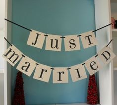 JUST MARRIED Double Banner Garland for Wedding/ by PinkPupsDesigns, $17.50