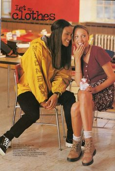 #90s #Seventeen Magazine. Love the outfit of the girl on the right.