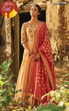 The rich splendor of fine chanderi and banarsi fabric weaves a tale as old as time.Our Beige chanderi anarkali suit crafted in luxurious Chanderi with detailed embroideries comes together to create a masterpiece.The bodice part is enhanced with floral motifs with silk thread,zari and sequin.It is paired with red banarsi dupatta to add unique charm to this exquisite piece.Color may slightly be different from the actual item due to photographic lighting sources or the monitor's settings.