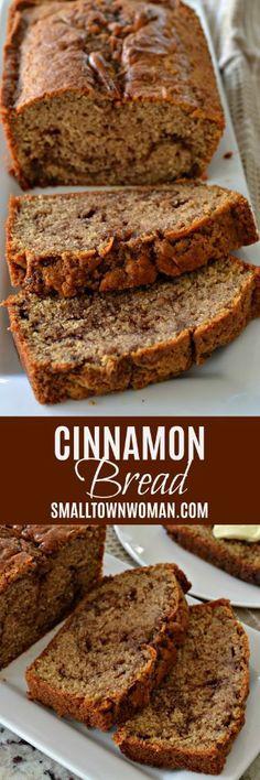 Sweet Bread Breakfast Brunch Recipe Cinnamon Recipe Quick Bread Small Town Woman Via Cinnamon Recipes, Cinnamon Bread, Bread Recipes, Baking Recipes, Cinnamon Butter, Cinnamon Rolls, Casserole Recipes, Potato Recipes, Pasta Recipes