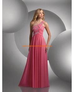 Belle robe asymétrique simple rose décorée de cristaux robe de soirée 2013 mousseline