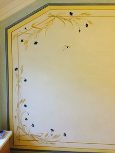 Gustavian Wallpainting, 'Wheat and Cornflowers'
