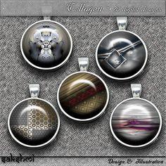 Shabby chic - Set 1 – Digital Design - 20 Buttons zum Ausdrucken. 300 DPI