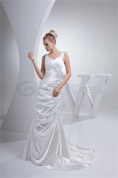 Wonderful Summer Sheath/ Column V-neck Puddle Train Wedding Dress http://www.GracefulDress.com/Wonderful-Summer-Sheath-Column-V-neck-Puddle-Train-Wedding-Dress-p20847.html