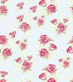 Papel de parede floral com fundo azul claro e desenhos em tons verde, rosa e detalhes amarelos - Rose 37