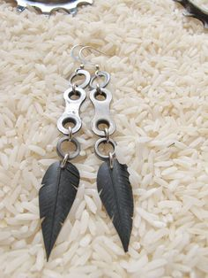 Bicycle Chain Link Feather Earrings-Recycled Bicycle Jewelry By Megan Rose