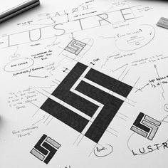 SALON LUSTRE . SKETCHES ON TYPE DIRECTION AND THEORY OF LOGO MARK AND OTHER BRAIN DUMPS.... . Salon Lustre is a private luxury hair salon… S Logo Design, Branding Design, Logo 3d, Logo Sketches, Typographic Logo, Logo Concept, Creative Logo, Identity, Graphic Design Inspiration