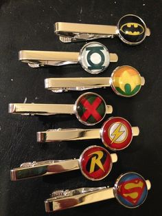 *This is a custom order.  Only purchase if you are Fausat  Per customer message, the following will be made into tie clips:  Superman Batman Green Lantern Aquaman The Flash Shazaam Martian Manhunter Wonder Woman  Tie clips are silver tone and the image will be sealed under a glass do...