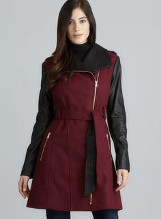 Faux Leather Asymmetrical Zip Belted Wool Guess Coat-I am in love with this jacket! I saw it at Ross for only $56!