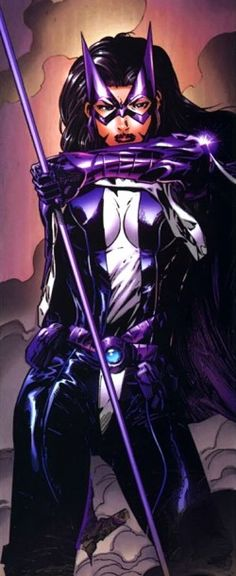 HUNTRESS; hand-to-hand combat, cross bow, detective, acrobatics, athlete, smart-ass. Helena Bertinelli is a woman of faith, but has witnessed the worst of human behavior. She tends to use excessive force in defending innocent victims of crime and abuse.