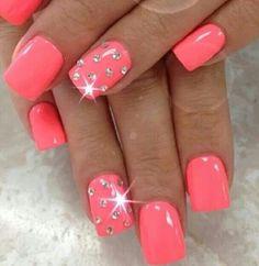 Get Nails, Fancy Nails, Love Nails, Hot Pink Nails, Pastel Nails, Ongles Bling Bling, Bling Nails, Colorful Nail Designs, Toe Nail Designs