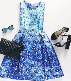 Blue Floral Print Midi Dress at Lulu's - Trendslove