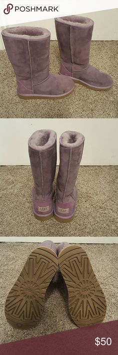 Purple Uggs Tall Purple Uggs. NEVER worn! Brand new uggs are too small for me!  Size says 3 but they fit more like a 5 in women's sizes! UGG Shoes Winter & Rain Boots