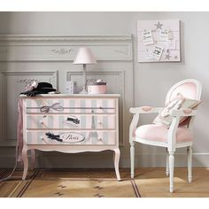 Wooden child's chest of drawers in pink W 91cm