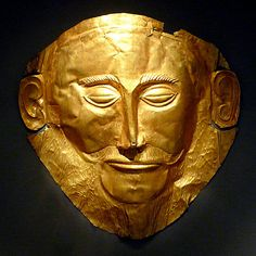It is really the Death Mask of Agamemnon? Gold, found in Tomb V in Mycenae by Heinrich Schliemann in 1876. National Archaeological Museum, Athens. Mycenae. 1600-1500 BC.